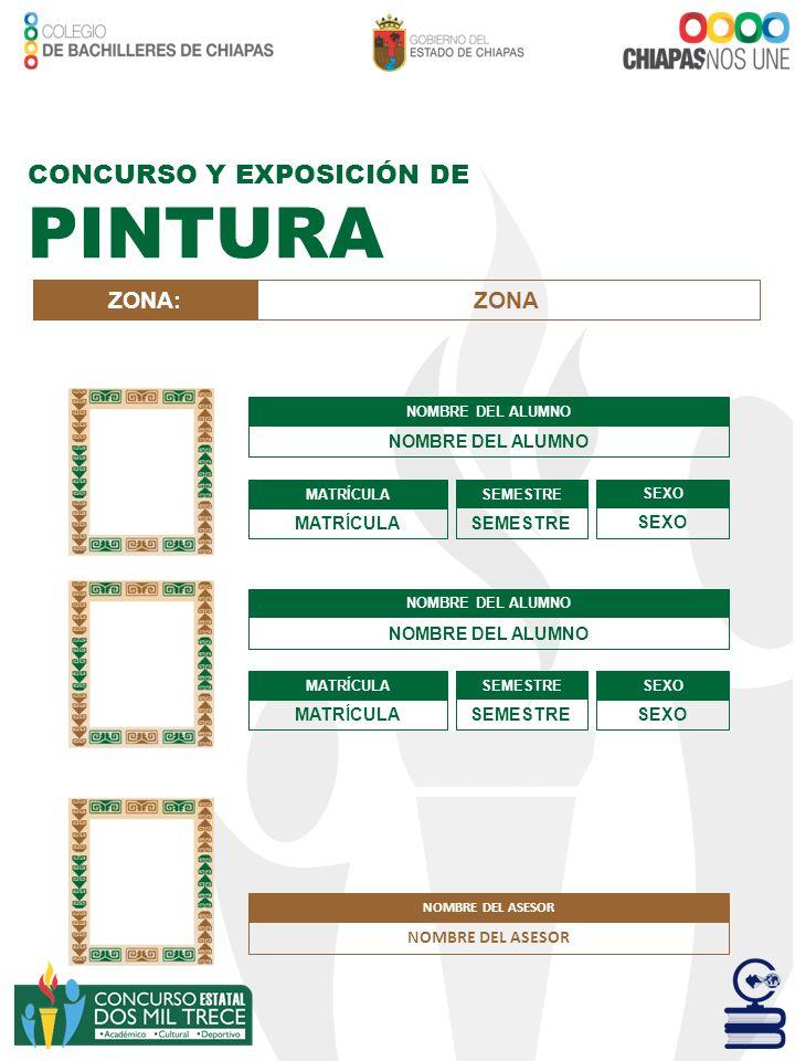 PINTURA CONCURSO Y EXPOSICIÓN DE ZONA: ZONA NOMBRE DEL ASESOR