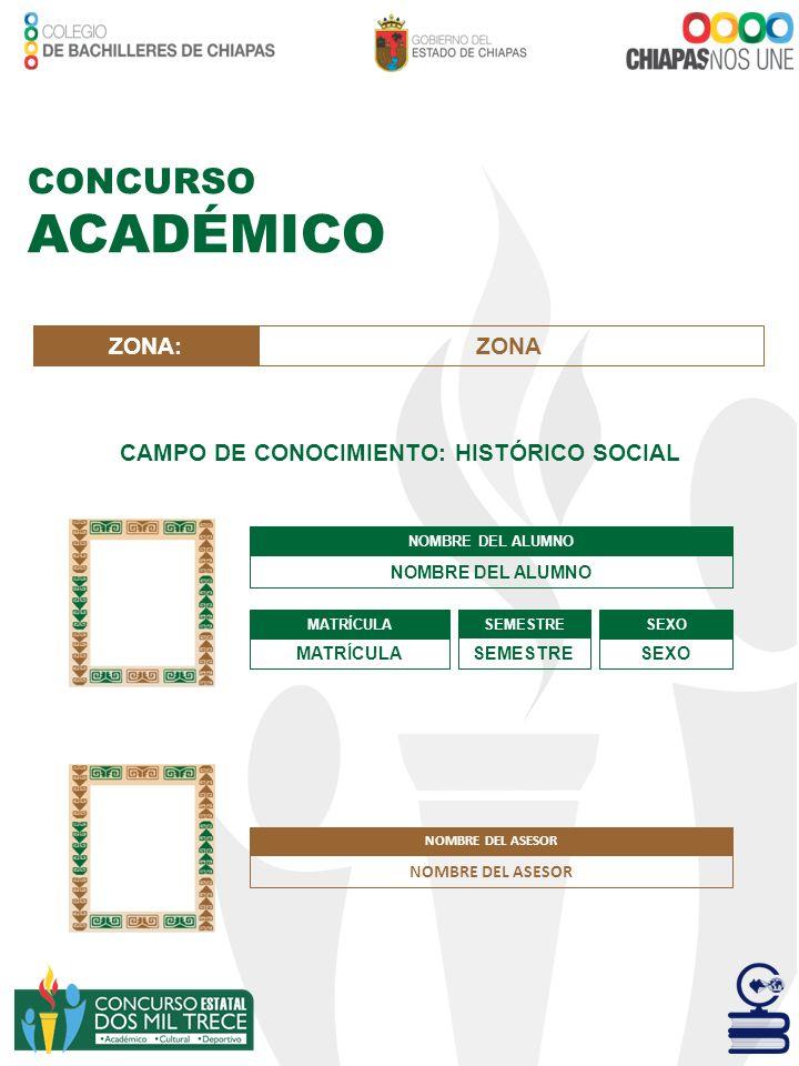 CAMPO DE CONOCIMIENTO: HISTÓRICO SOCIAL