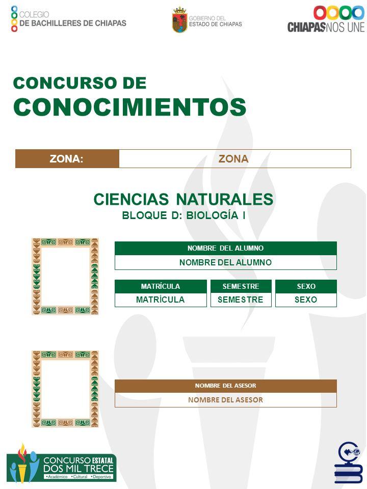 CONOCIMIENTOS CONCURSO DE CIENCIAS NATURALES ZONA: ZONA