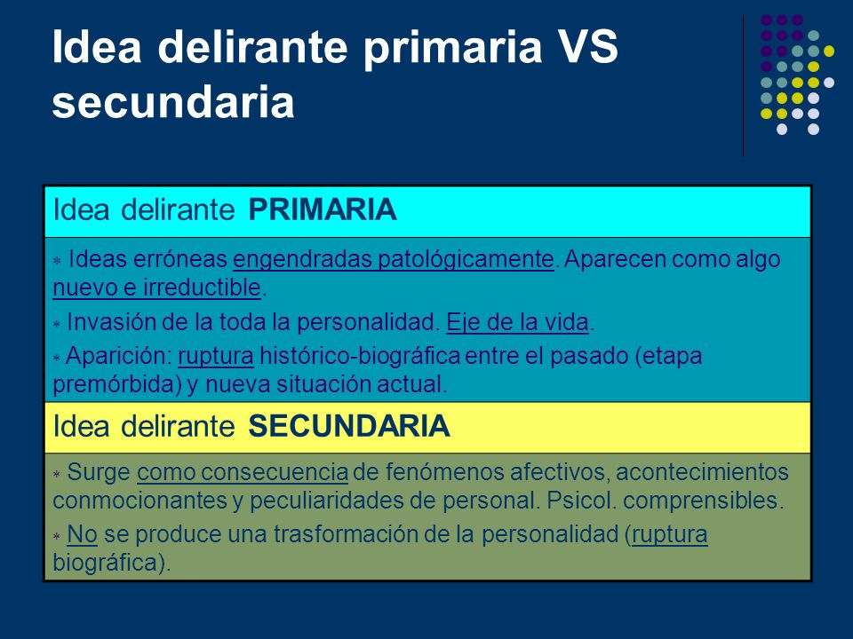 Idea delirante primaria VS secundaria
