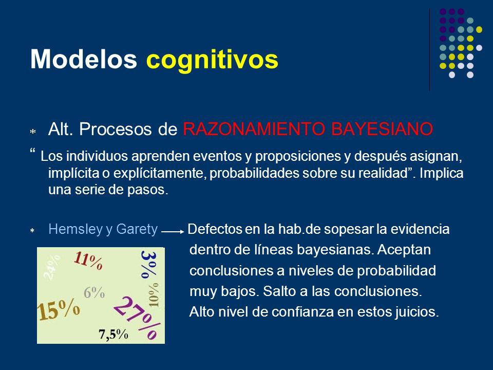 Modelos cognitivos Alt. Procesos de RAZONAMIENTO BAYESIANO
