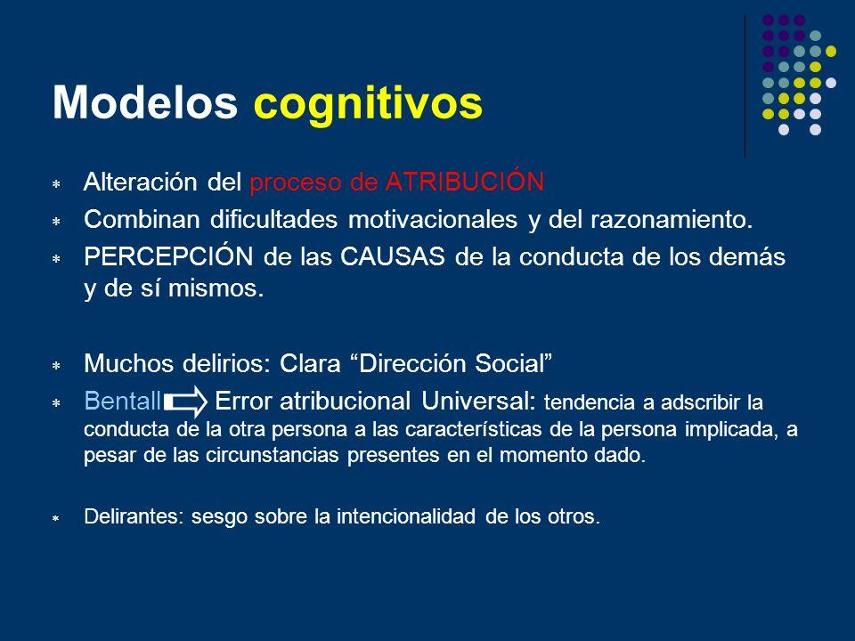 Modelos cognitivos Alteración del proceso de ATRIBUCIÓN