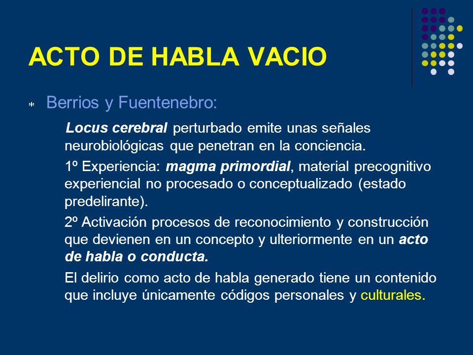ACTO DE HABLA VACIO Berrios y Fuentenebro: