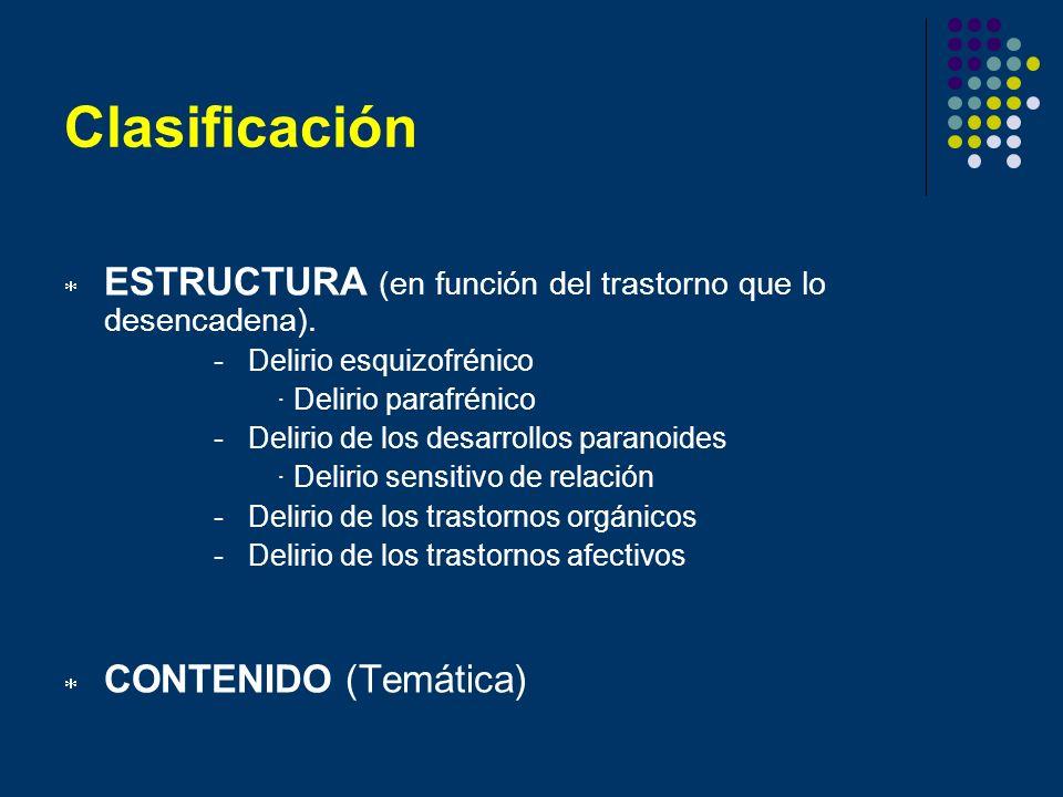 Clasificación ESTRUCTURA (en función del trastorno que lo desencadena). - Delirio esquizofrénico.