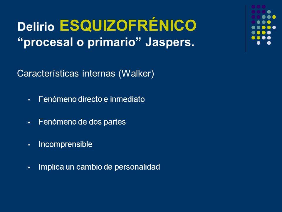 Delirio ESQUIZOFRÉNICO procesal o primario Jaspers.