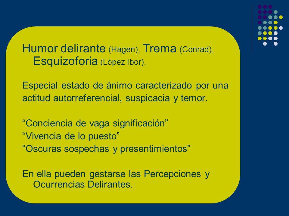 Humor delirante (Hagen), Trema (Conrad), Esquizoforia (López Ibor).