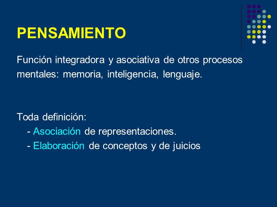PENSAMIENTO Función integradora y asociativa de otros procesos