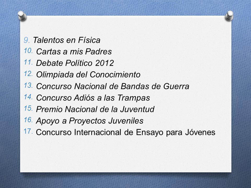 9. Talentos en Física Cartas a mis Padres. Debate Político 2012. Olimpiada del Conocimiento. Concurso Nacional de Bandas de Guerra.