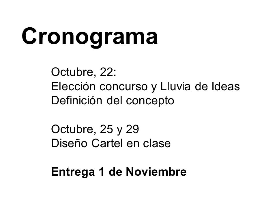 Cronograma Octubre, 22: Elección concurso y Lluvia de Ideas