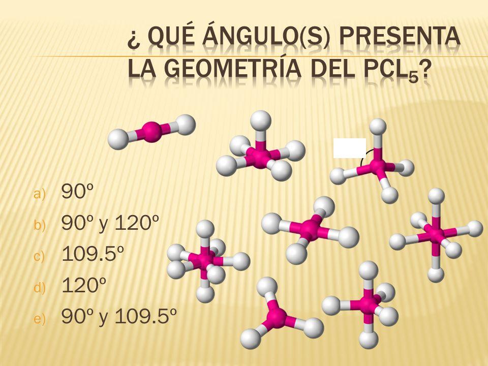 ¿ Qué ángulo(s) presenta la geometría del PCl5