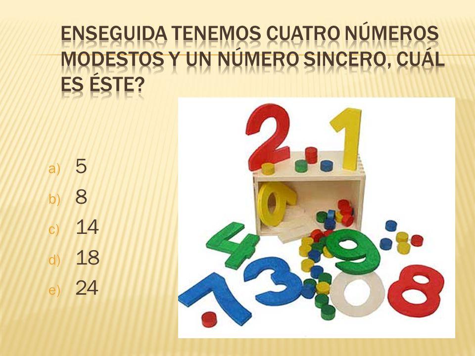 Enseguida tenemos cuatro números modestos y un número sincero, cuál es éste