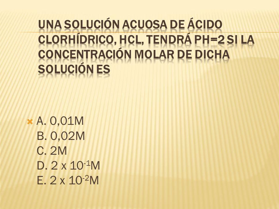 Una solución acuosa de ácido clorhídrico, HCl, tendrá pH=2 si la concentración molar de dicha solución es
