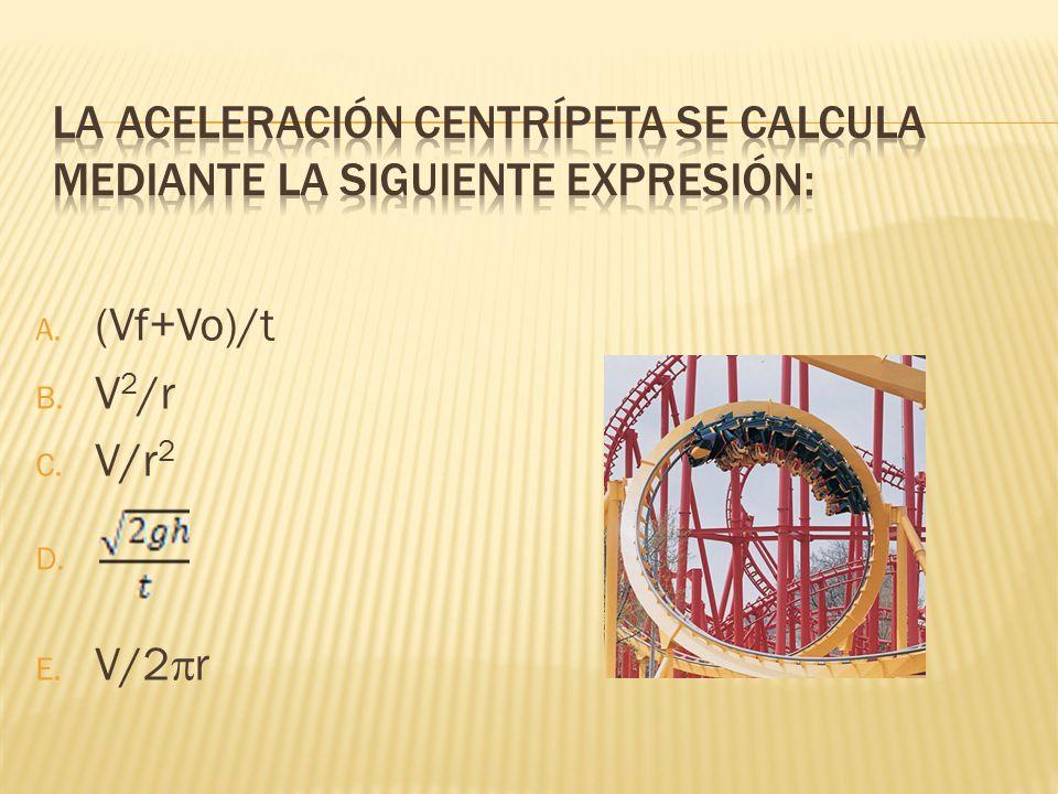 La aceleración centrípeta se calcula mediante la siguiente expresión: