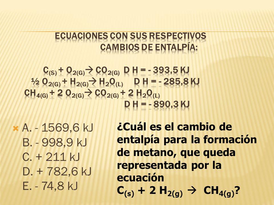 A. - 1569,6 kJ B. - 998,9 kJ C. + 211 kJ D. + 782,6 kJ E. - 74,8 kJ