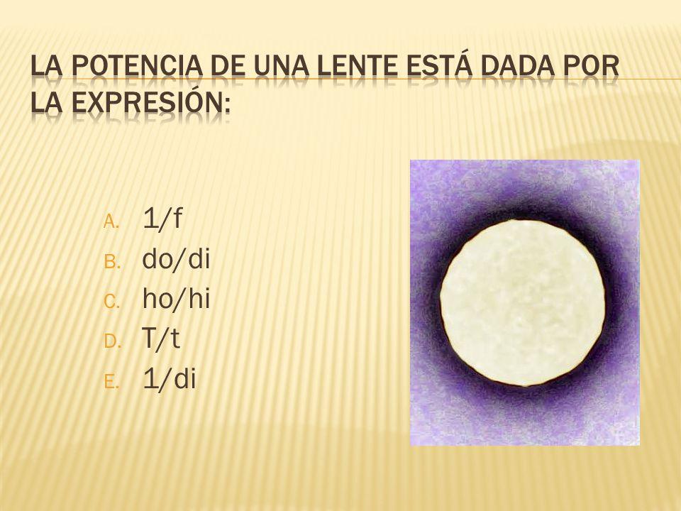 La potencia de una lente está dada por la expresión: