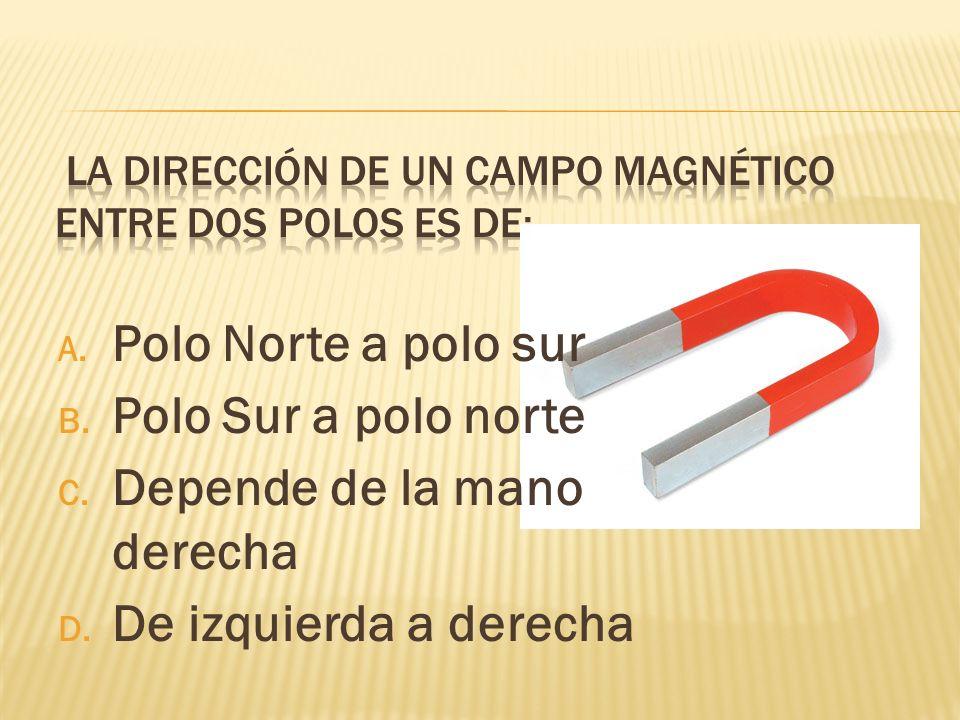 La dirección de un campo magnético entre dos polos es de: