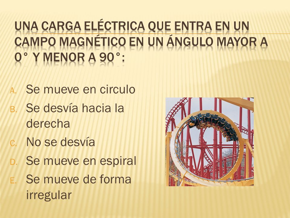 Una carga eléctrica que entra en un campo magnético en un ángulo mayor a 0° y menor a 90°: