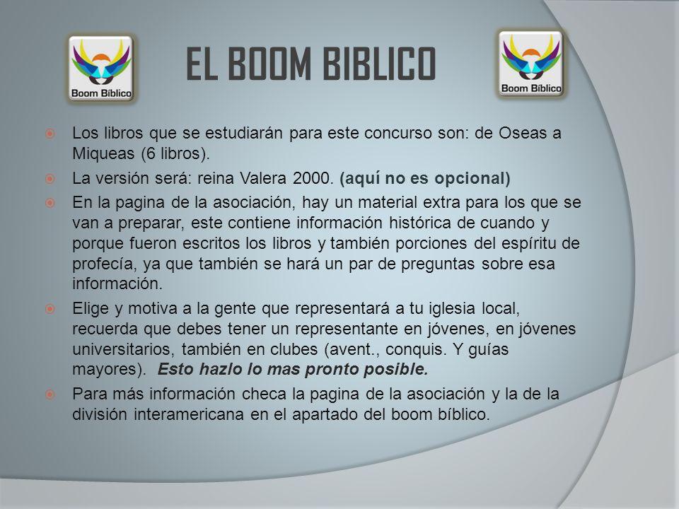EL BOOM BIBLICO Los libros que se estudiarán para este concurso son: de Oseas a Miqueas (6 libros).