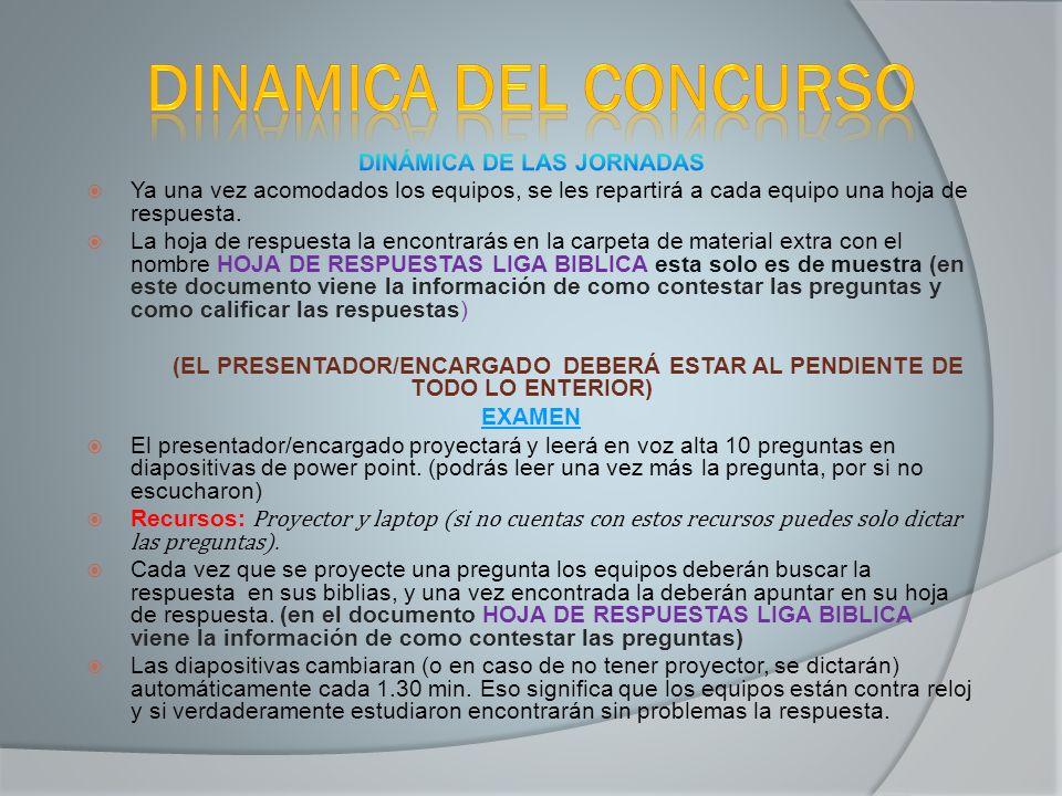 DINÁMICA DE LAS JORNADAS