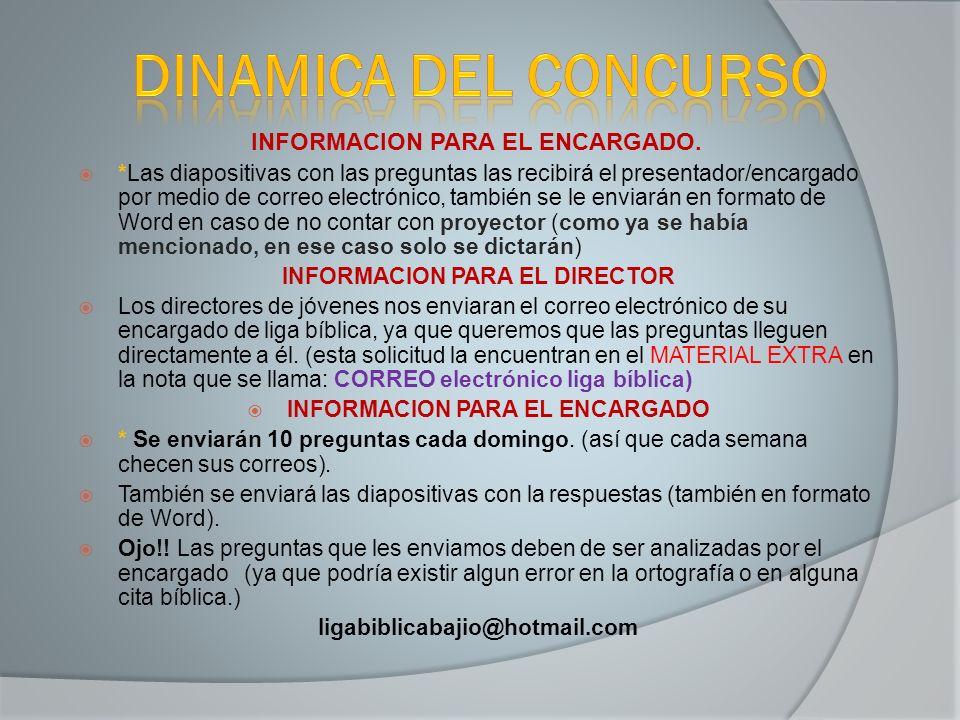 DINAMICA DEL CONCURSO INFORMACION PARA EL ENCARGADO.