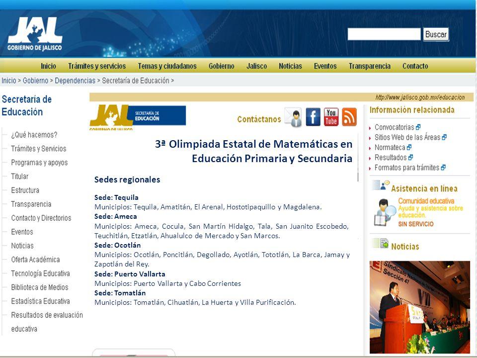 3ª Olimpiada Estatal de Matemáticas en Educación Primaria y Secundaria