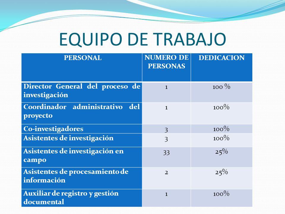 EQUIPO DE TRABAJO PERSONAL NUMERO DE PERSONAS DEDICACION