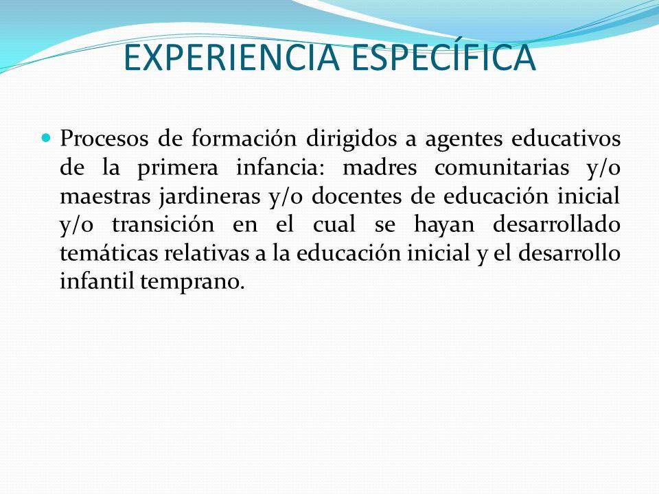 EXPERIENCIA ESPECÍFICA
