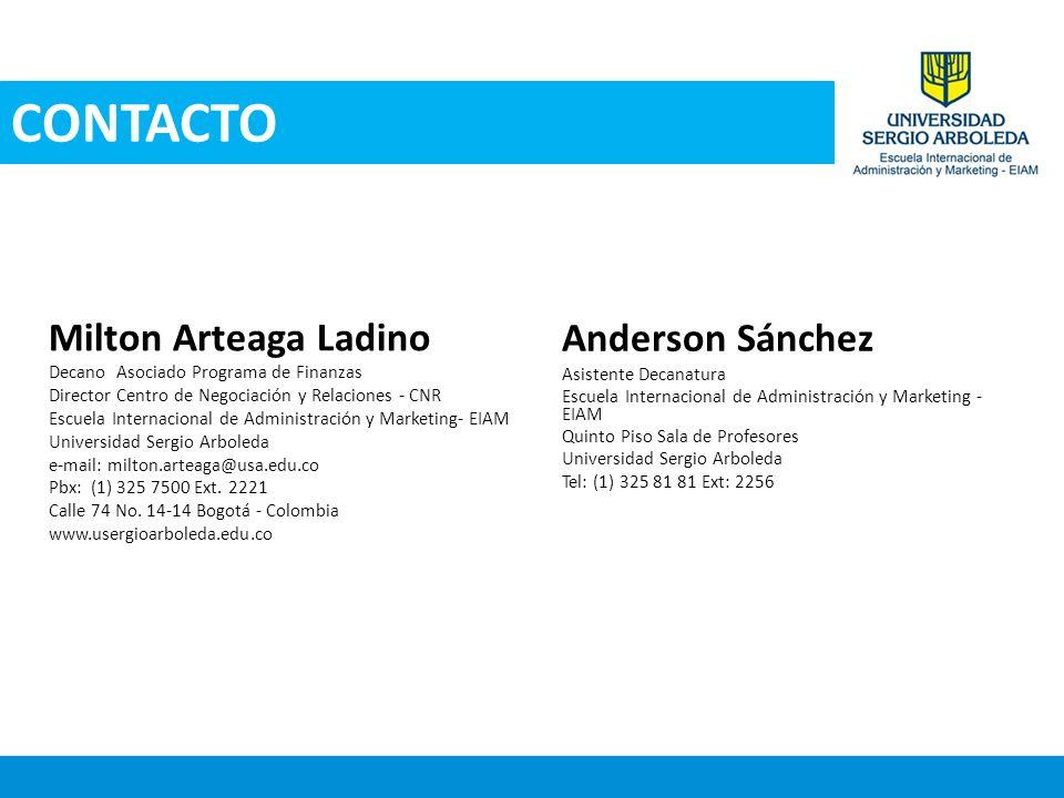 CONTACTO Anderson Sánchez Milton Arteaga Ladino
