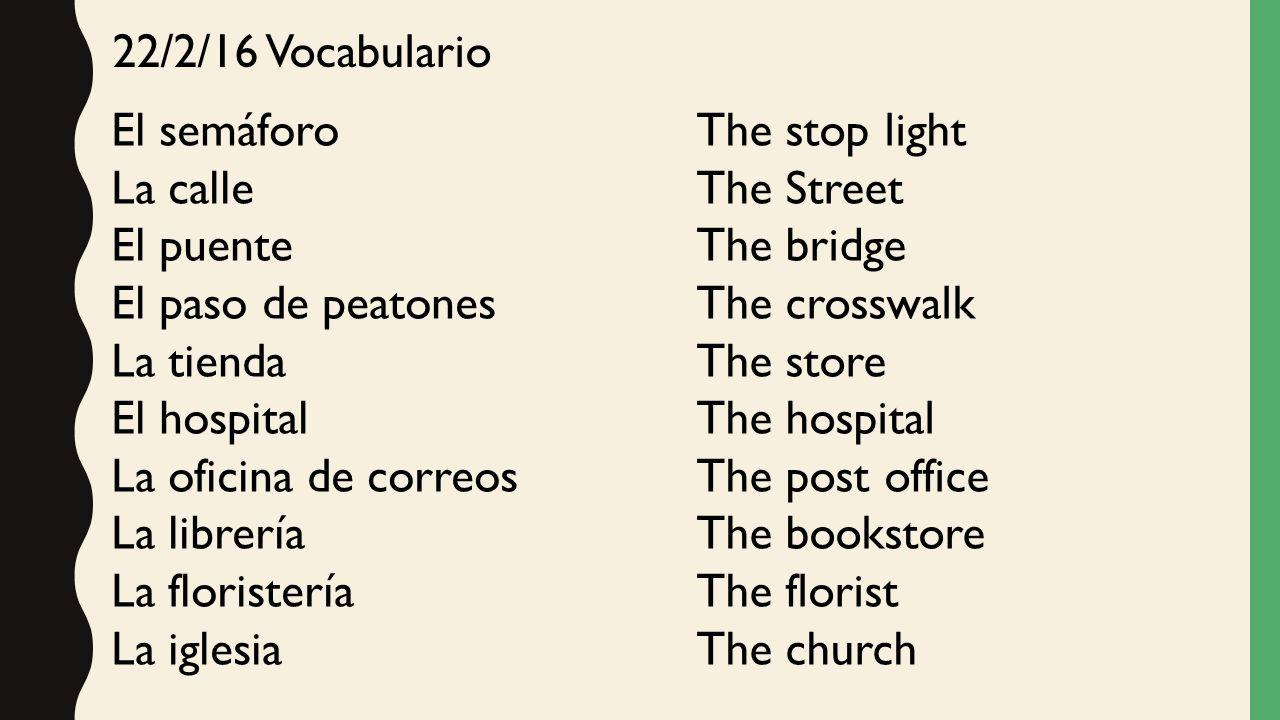 22/2/16 Vocabulario El semáforo. La calle. El puente. El paso de peatones. La tienda. El hospital.