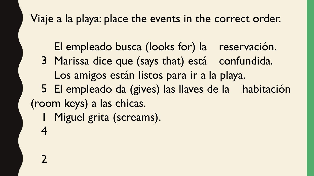 Viaje a la playa: place the events in the correct order.