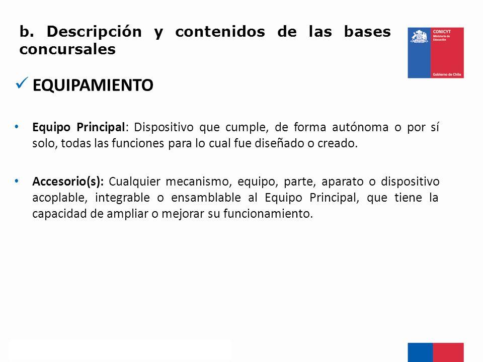 EQUIPAMIENTO b. Descripción y contenidos de las bases concursales