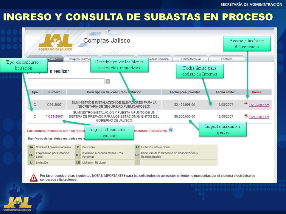 INGRESO Y CONSULTA DE SUBASTAS EN PROCESO