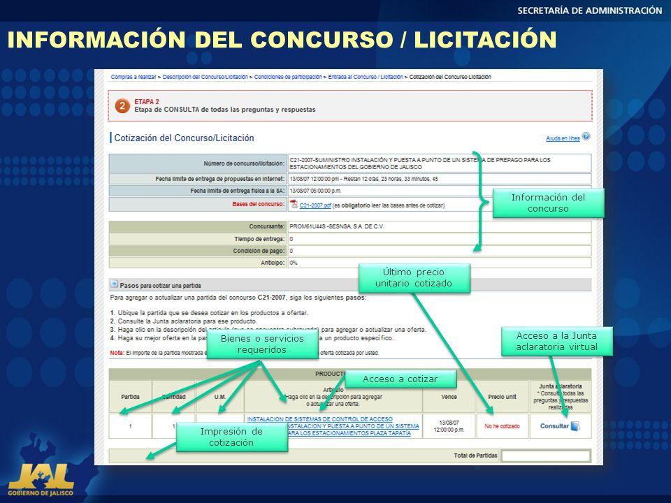 INFORMACIÓN DEL CONCURSO / LICITACIÓN