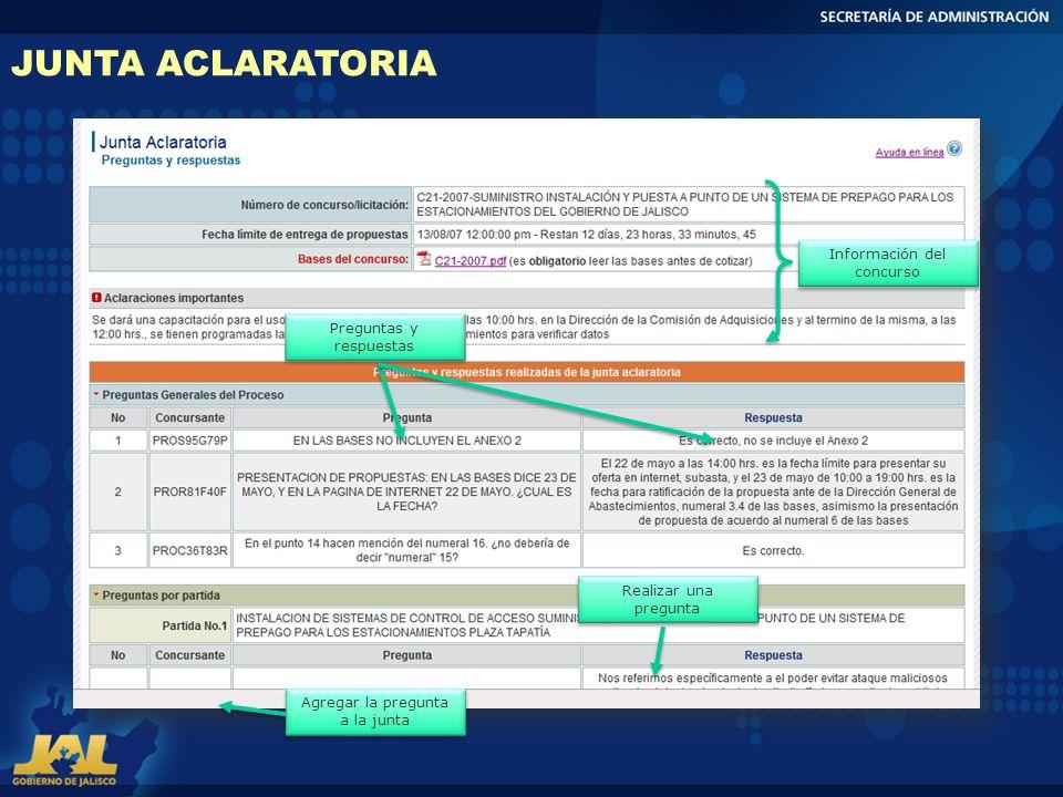 JUNTA ACLARATORIA Información del concurso Preguntas y respuestas
