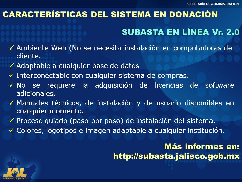 CARACTERÍSTICAS DEL SISTEMA EN DONACIÓN