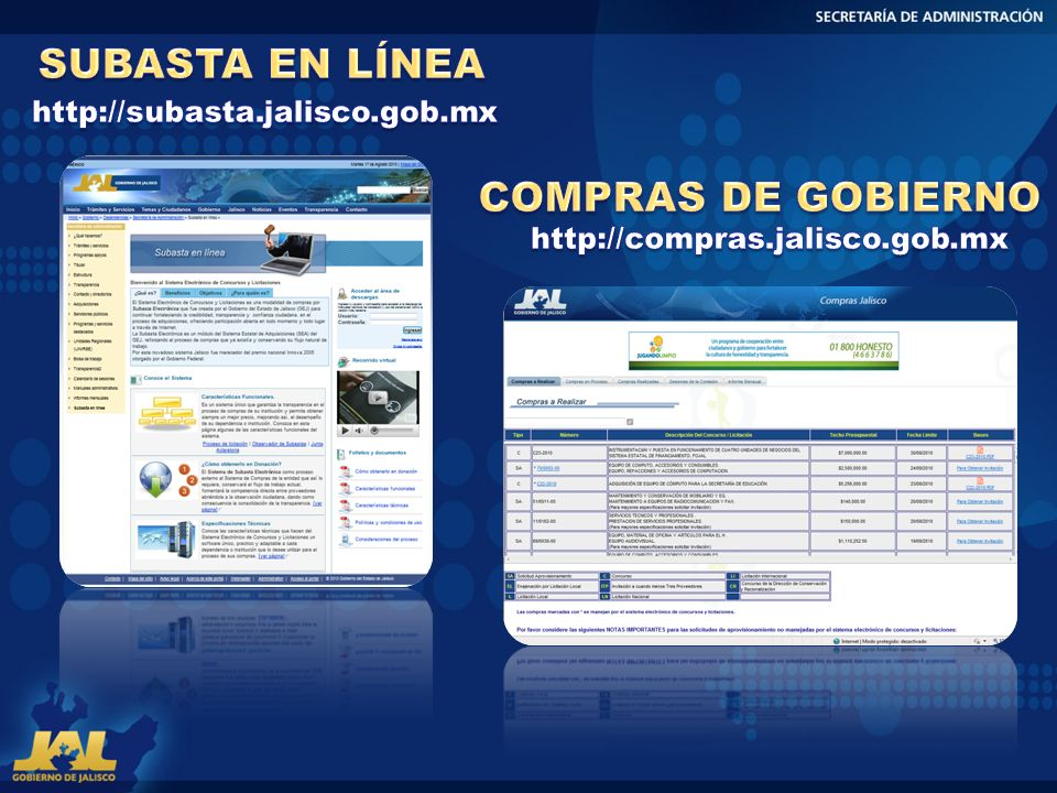 SUBASTA EN LÍNEA COMPRAS DE GOBIERNO http://subasta.jalisco.gob.mx