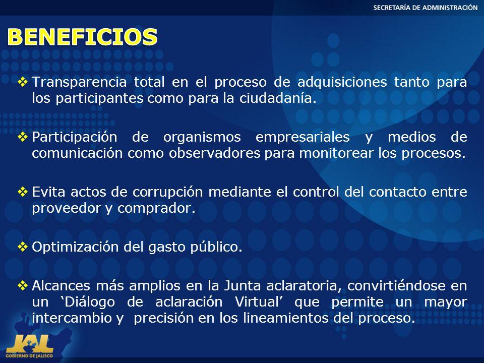 BENEFICIOS Transparencia total en el proceso de adquisiciones tanto para los participantes como para la ciudadanía.