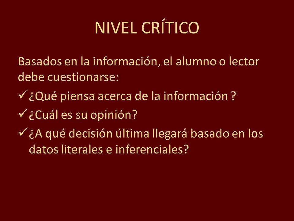 NIVEL CRÍTICO Basados en la información, el alumno o lector debe cuestionarse: ¿Qué piensa acerca de la información