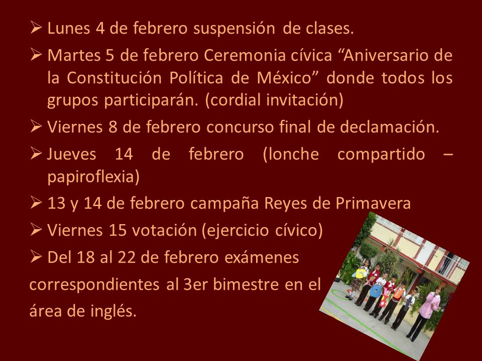 Lunes 4 de febrero suspensión de clases.