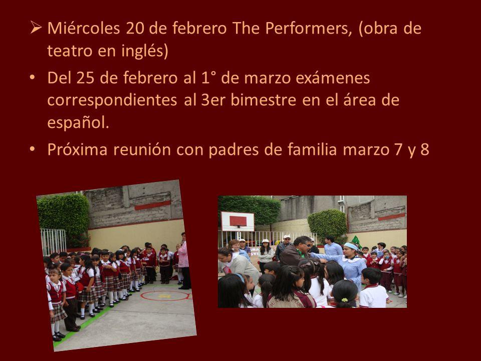Miércoles 20 de febrero The Performers, (obra de teatro en inglés)