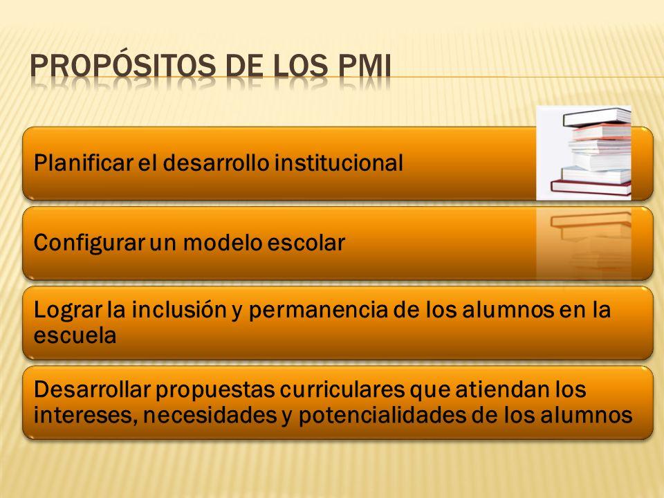 Propósitos de los pmi Planificar el desarrollo institucional