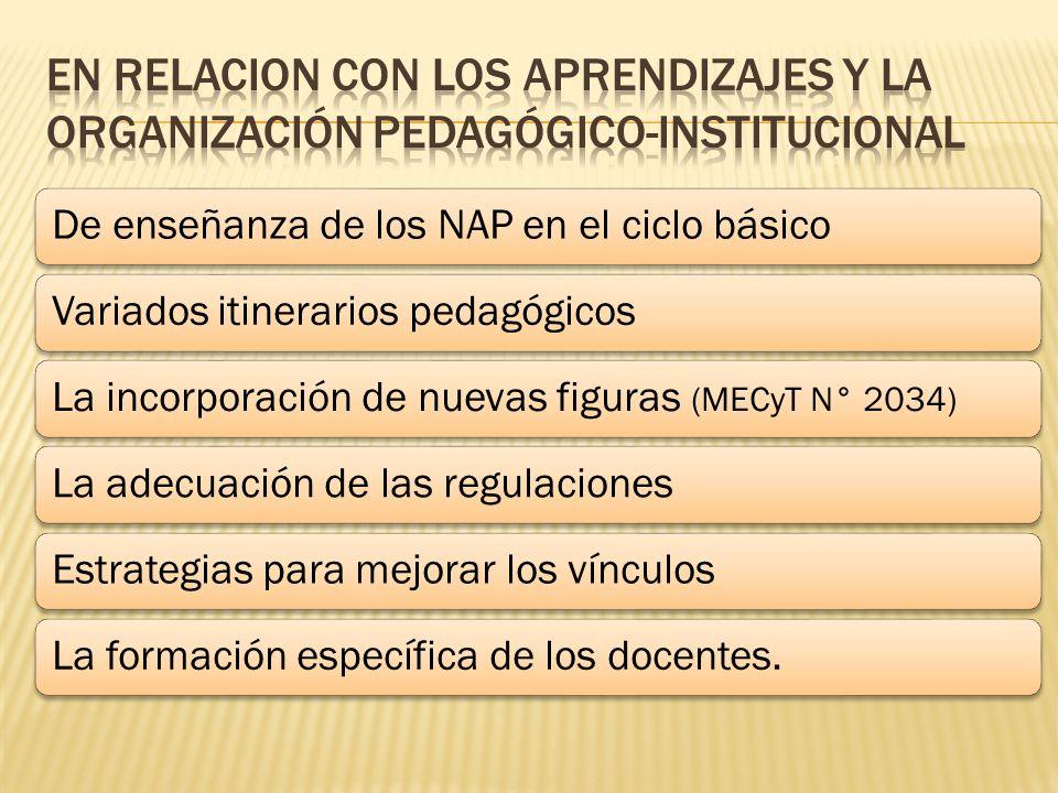 EN RELACION CON LOS APRENDIZAJES Y LA ORGANIZACIÓN PEDAGÓGICO-INSTITUCIONAL