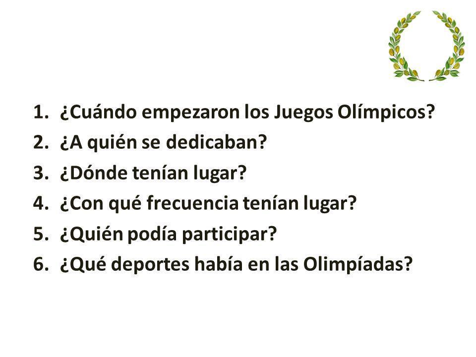 ¿Cuándo empezaron los Juegos Olímpicos
