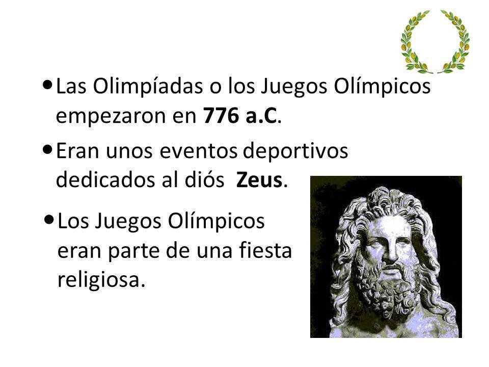 Las Olimpíadas o los Juegos Olímpicos empezaron en 776 a.C.