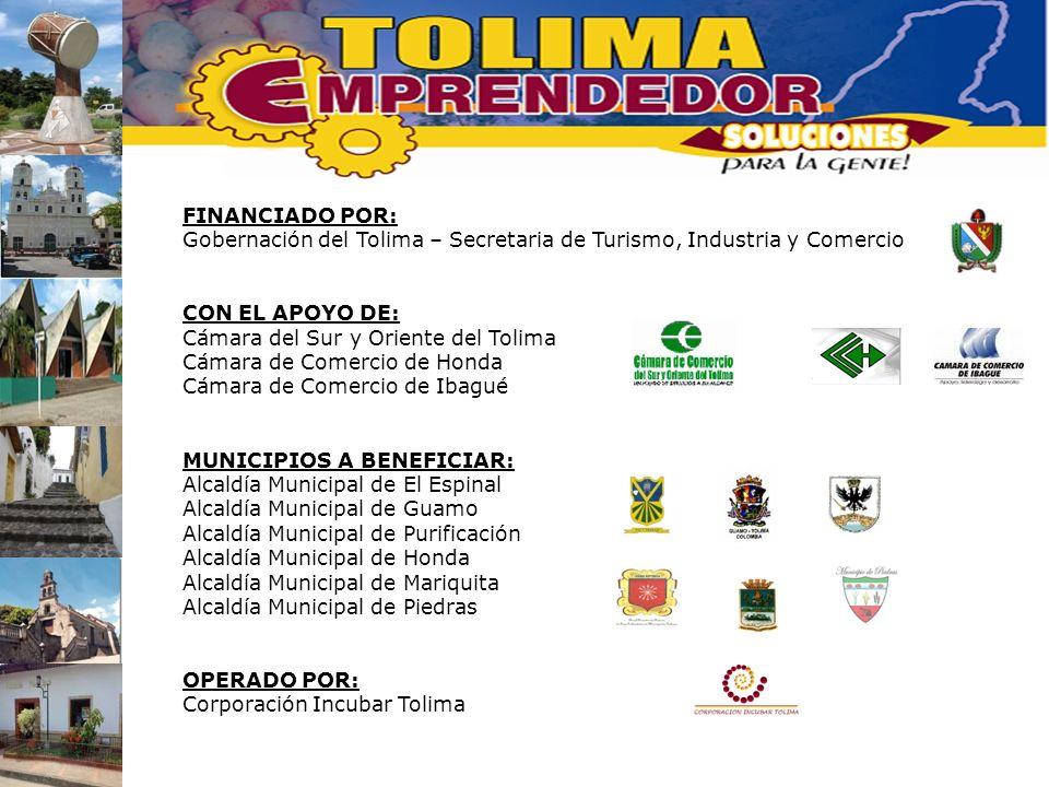 FINANCIADO POR: Gobernación del Tolima – Secretaria de Turismo, Industria y Comercio. CON EL APOYO DE: