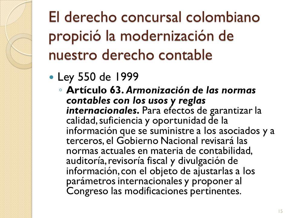 El derecho concursal colombiano propició la modernización de nuestro derecho contable