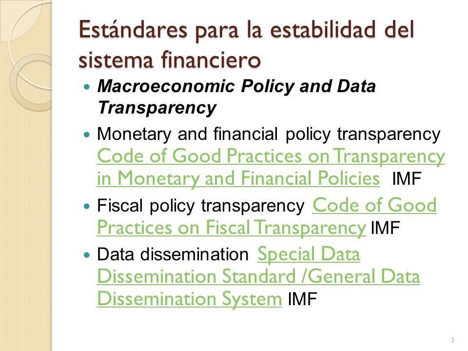 Estándares para la estabilidad del sistema financiero