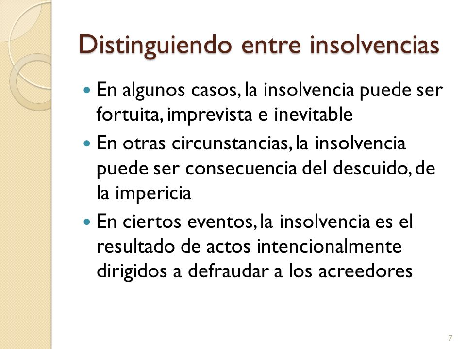 Distinguiendo entre insolvencias