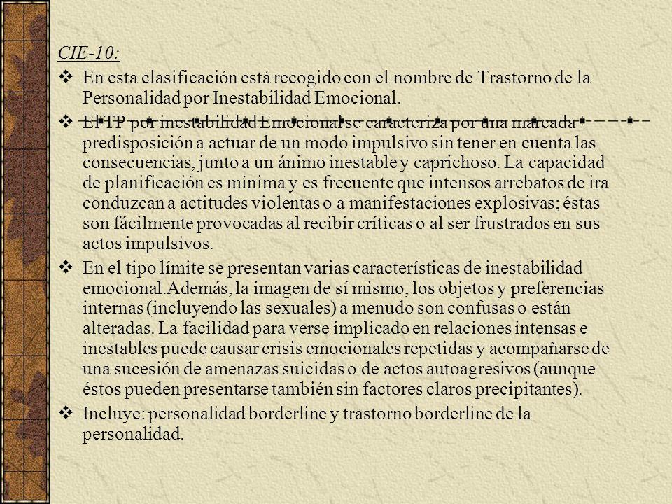 CIE-10: En esta clasificación está recogido con el nombre de Trastorno de la Personalidad por Inestabilidad Emocional.