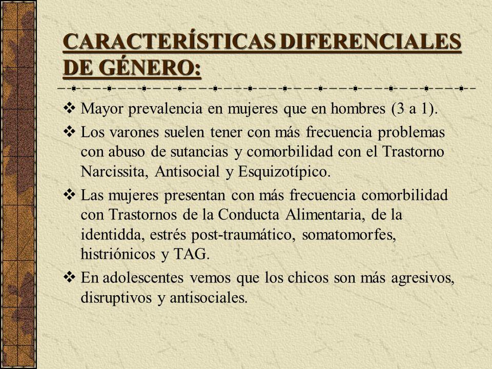 CARACTERÍSTICAS DIFERENCIALES DE GÉNERO: